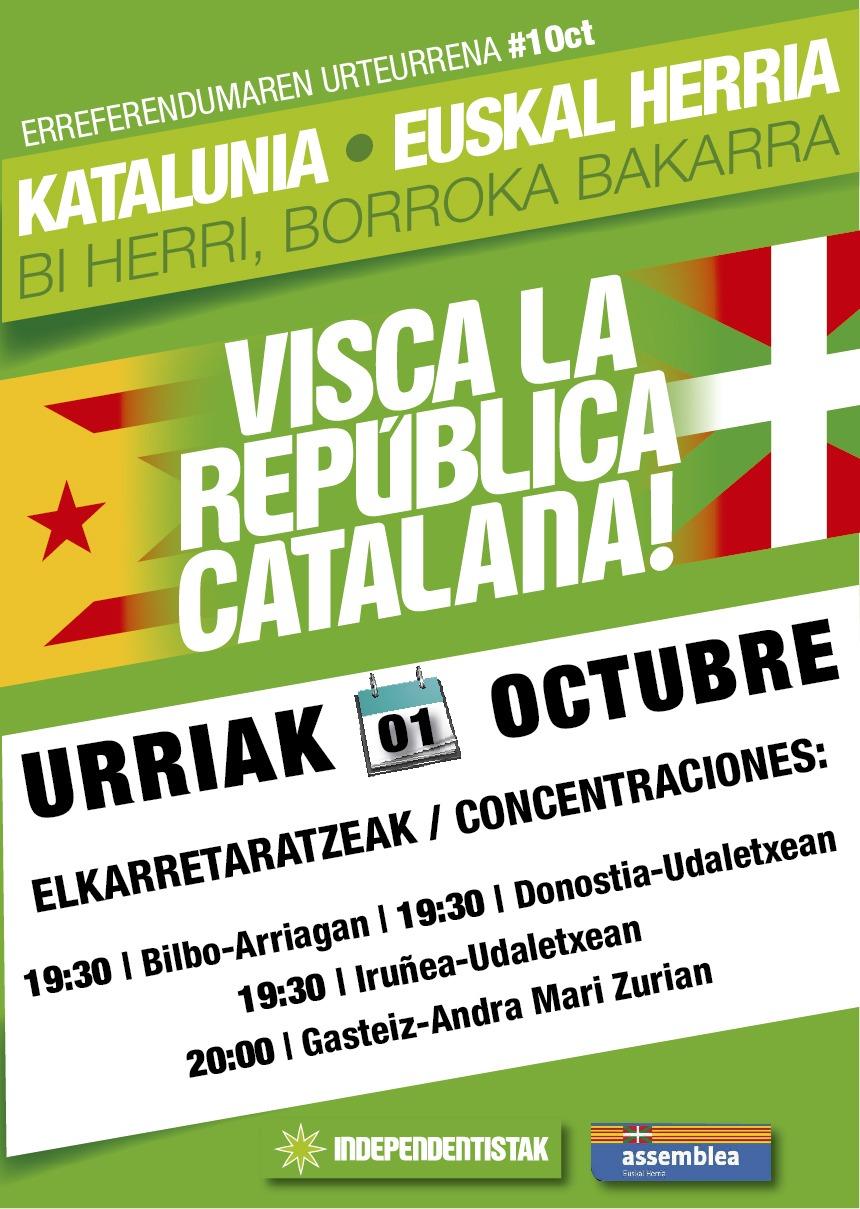 Actes a Euskal Herria per l'1 d'octubre