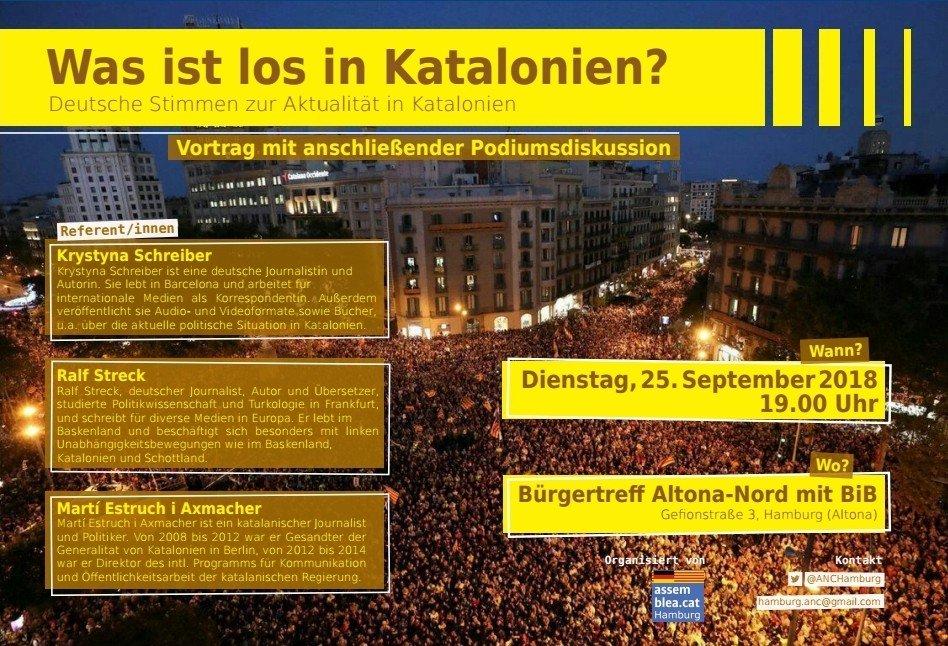 """""""Was is los in Katalonien?"""" pòdium amb Ralf Streck i els periodistes Krystina Schreiber i Martí Estruch Axmacher"""