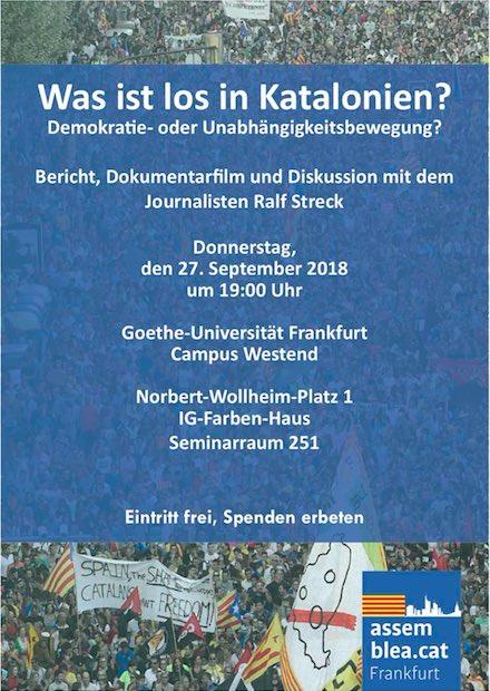 """Was ist los in Katalonien? Demokratie- oder Unabhängigkeitsbewegung"""", documental """"1-O"""" i discussió posterior amb Ralf Streck"""