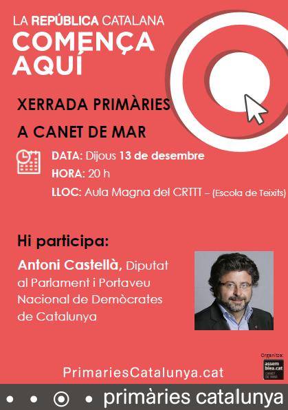 Xerrada de Primàries amb el Diputat Antoni Castellà
