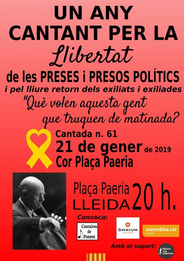 Un any cantant per la llibertat de les preses i presos polítics i pel lliure retorn dels exiliats i exiliades