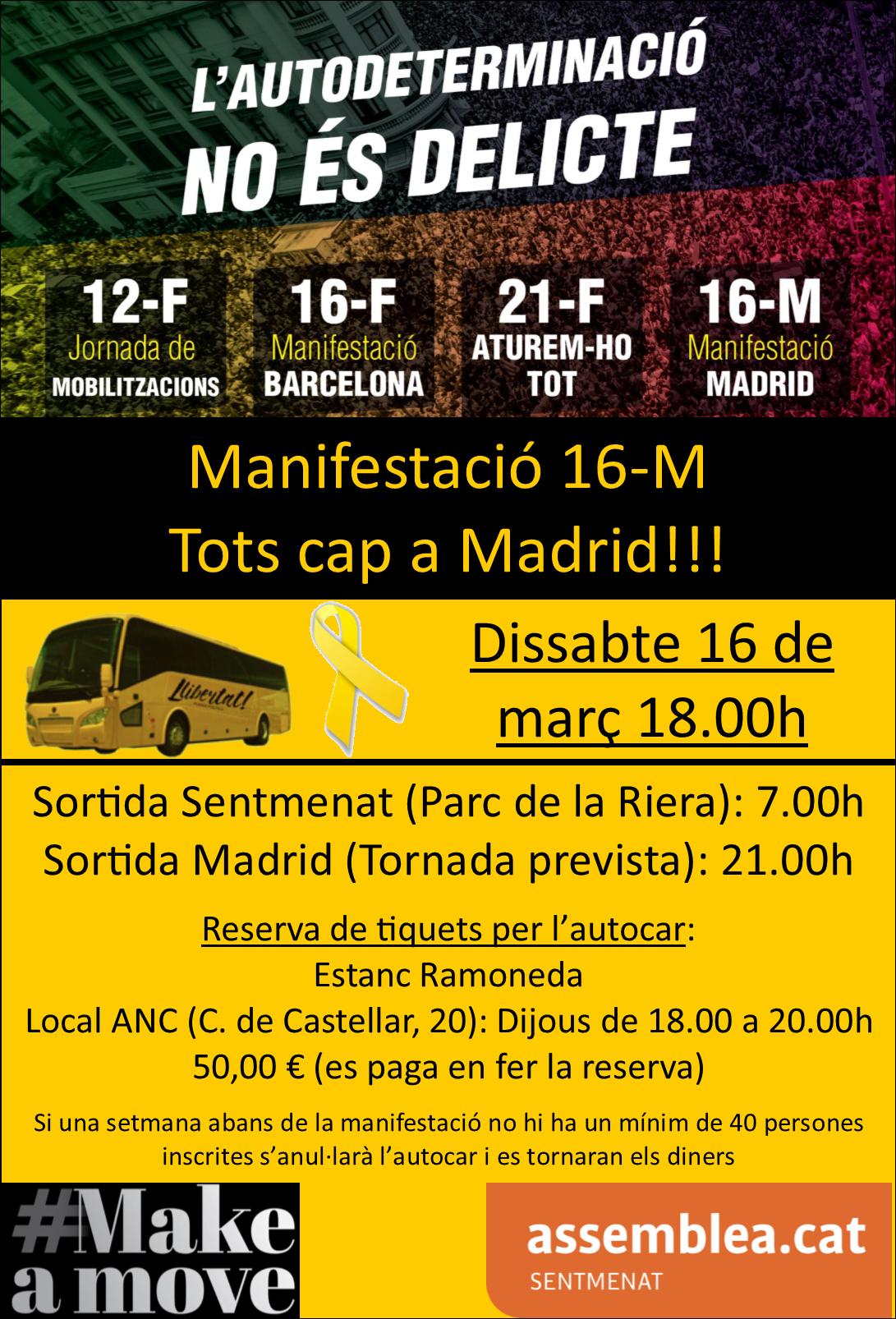 Autocar desplaçament a la manifestació del dia 16 març a Madrid