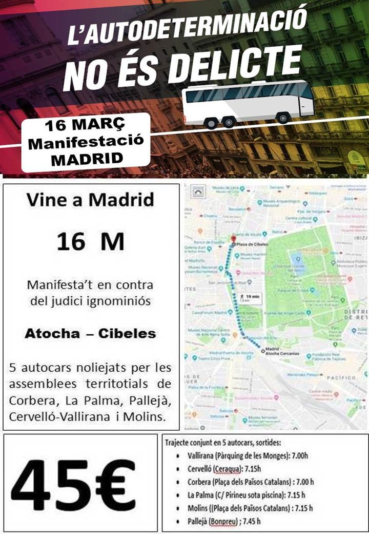 Autocars a la manifestació de Madrid - Cervelló Vallirana, Corbera, La Palma, Pallejà i Molins