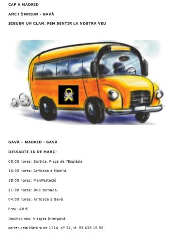 Autobusos des de Gavà a Madrid. Siguem un clam. Fem sentir la nostra veu!