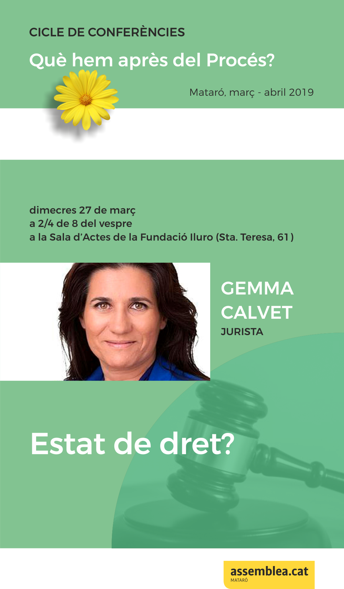 """Conferència a càrrec de Gemma Calvet """"L'Estat espanyol, un estat de dret?"""""""