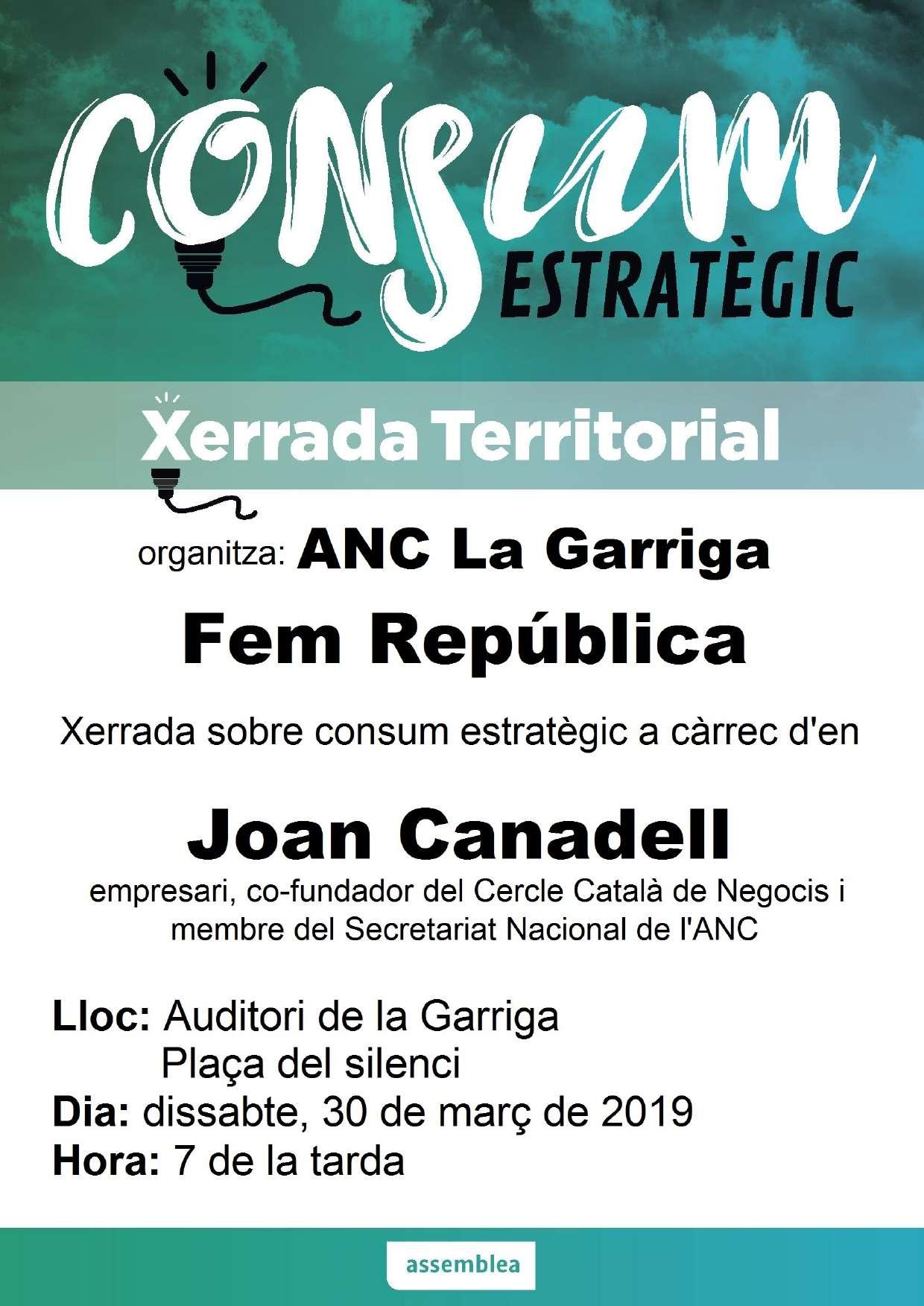 Xerrada Consum estratègic. ANC La Garriga
