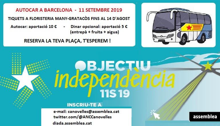 Celabració 11-S (dinar i autocar a Barcelona)