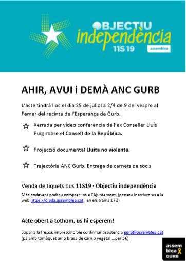 Ahir, avui i demà, ANC Gurb