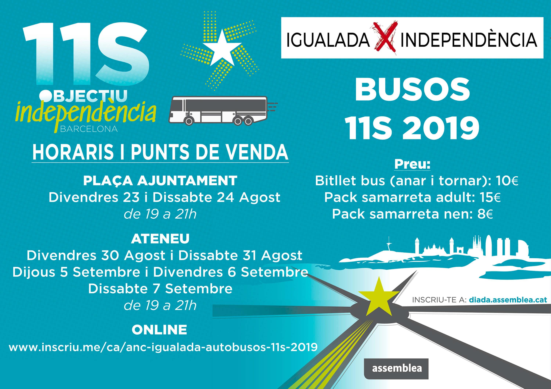 Igualada: Tiquets de bus i samarretes Diada 2019 ObjectiuIndependència
