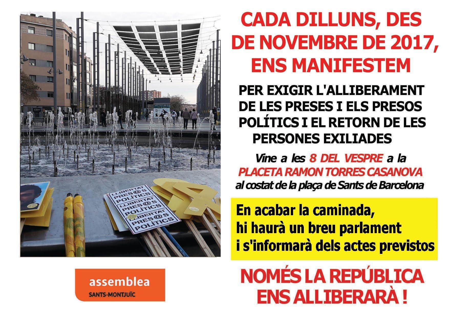 Manifestació setmanal per la llibertat dels presos i exiliats polítics