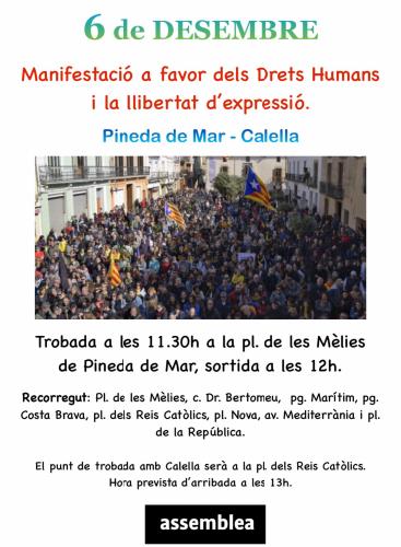 Manifestació a favor dels Drets Humans i la LLibertat d'Expressió