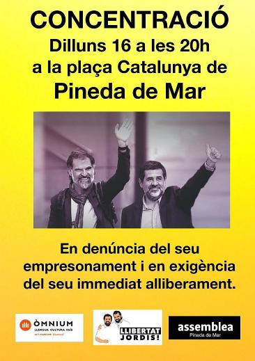 Concentració a favor d'en Jordi Sanchez i Jordi Cuixart