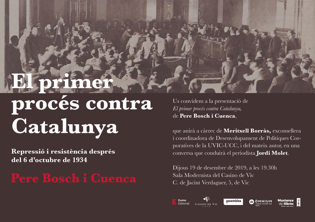 """Presentació """"El primer procés contra Catalunya. Repressió i resistència després del 6 d'octubre de 1934"""""""