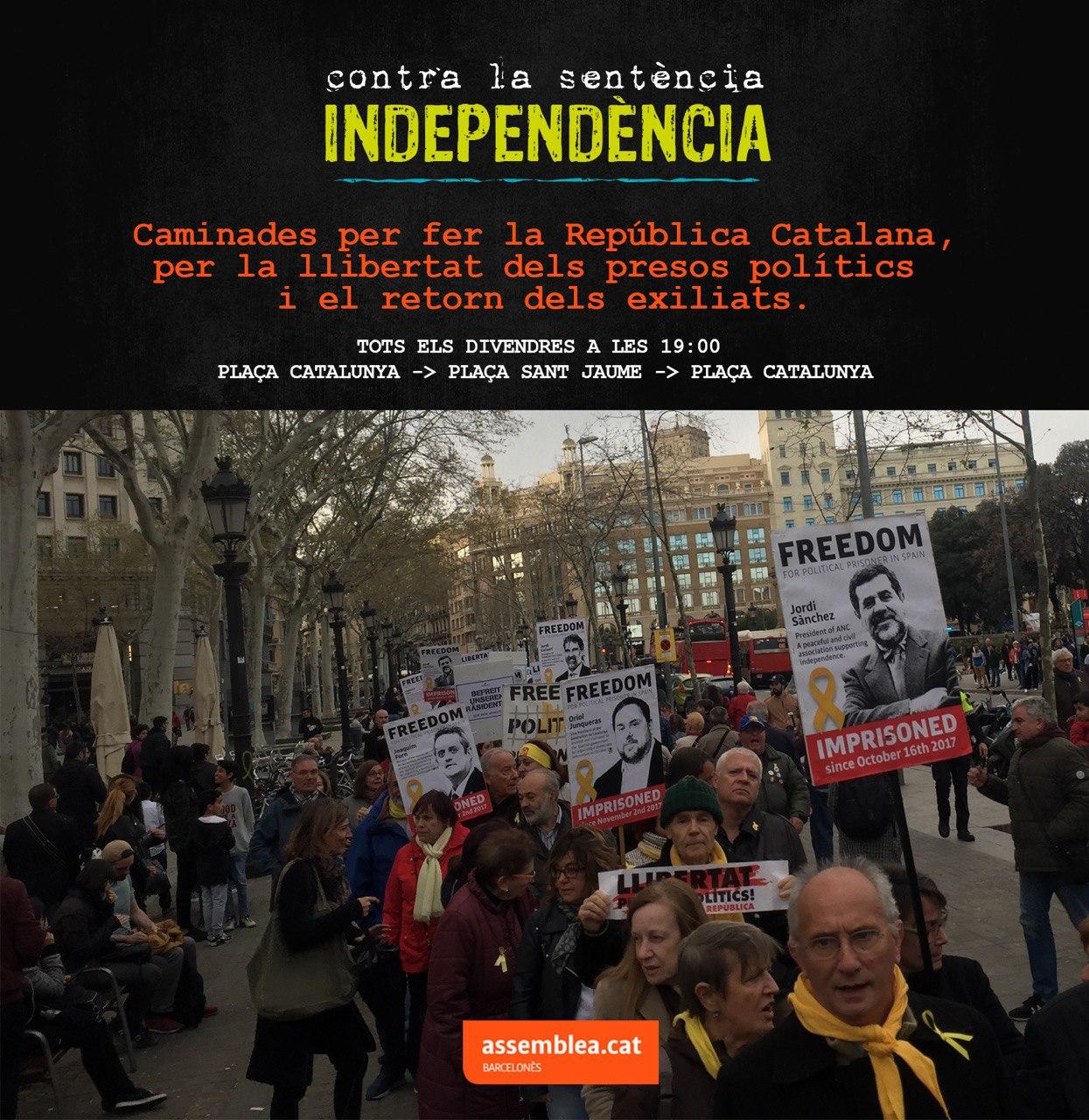 Caminades per fer la República catalana, per la llibertat dels presos polítics i el retorn dels exiliats