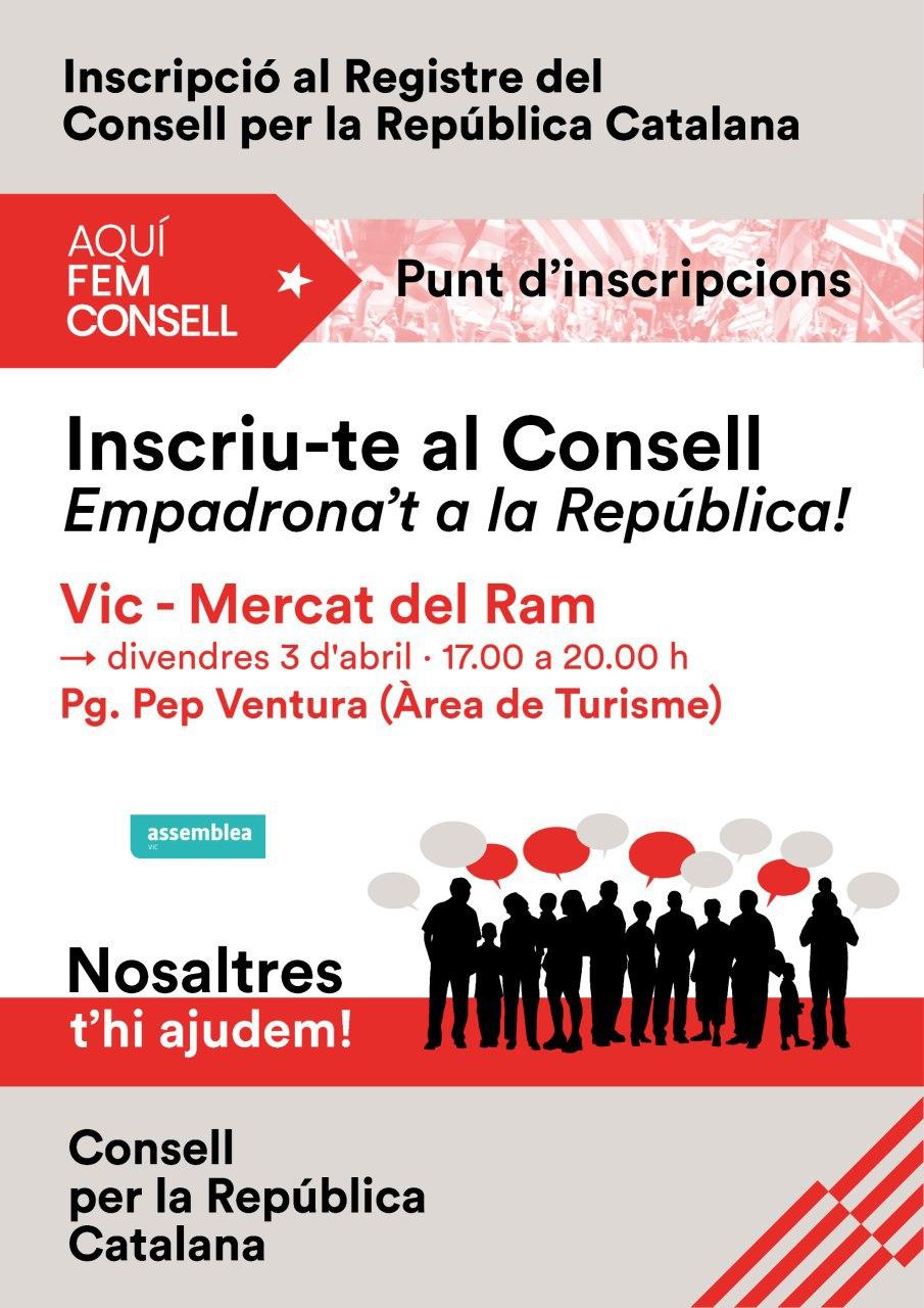 Punt d'inscripcion de Fem Consell al Consell per la República al Mercat del Ram