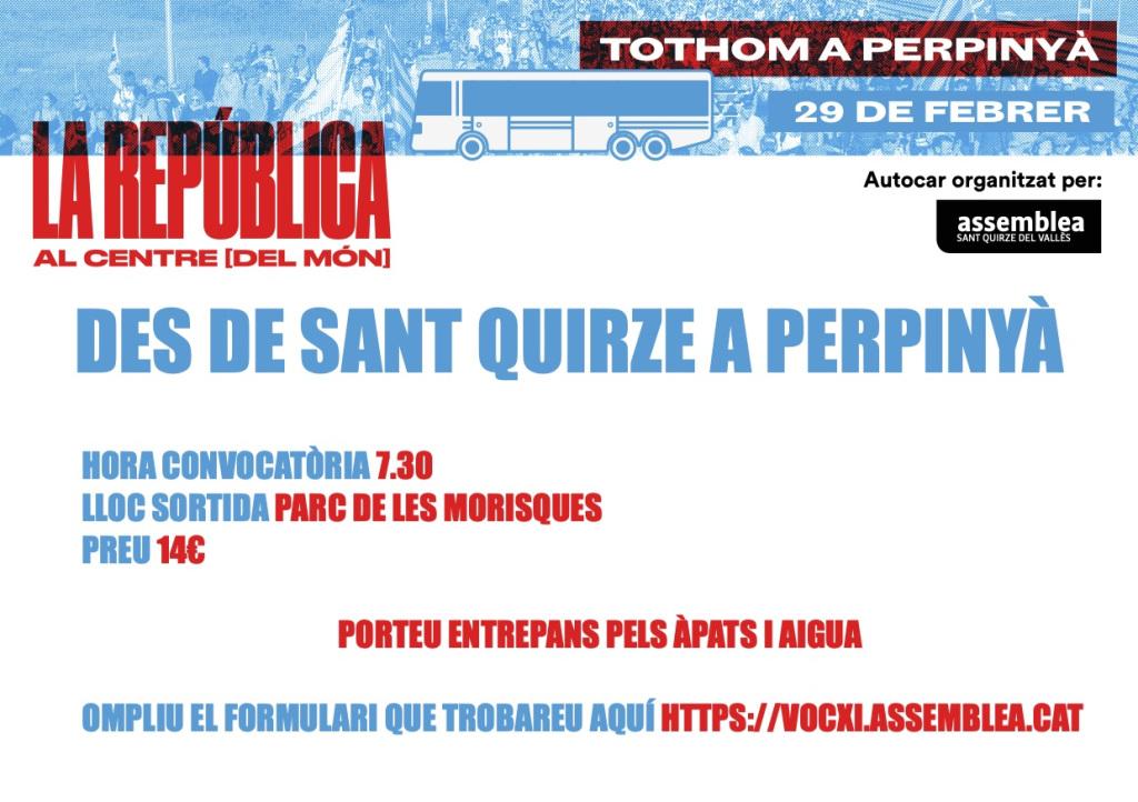 Autocar des de Sant Quirze del Vallès a l'acte del Consell per la República Catalana a Perpinyà