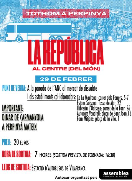 Autocars des de Vilafranca a l'acte del Consell per la República Catalana a Perpinyà