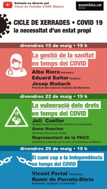 """Cicle de xerrades: """"COVID 19, la necessitat d'un estat propi"""" amb Vicent Partal i Ramir de Porrata-Dòria"""