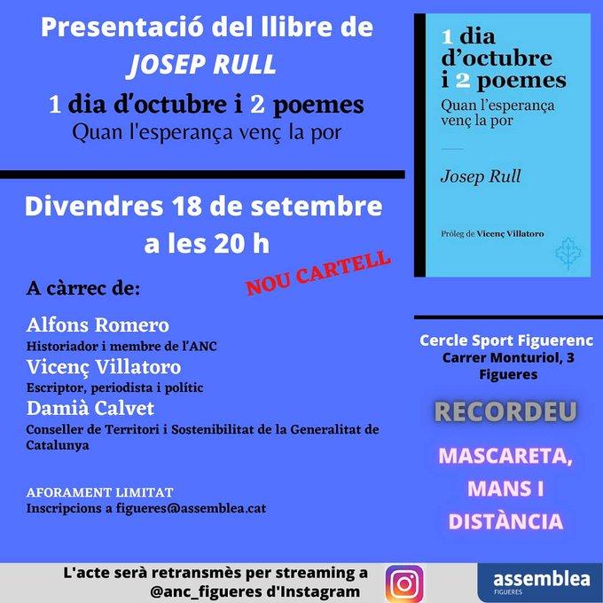 """Presentació del llibre """"1dia d'octubre i 2 poemes"""" de Josep Rull"""