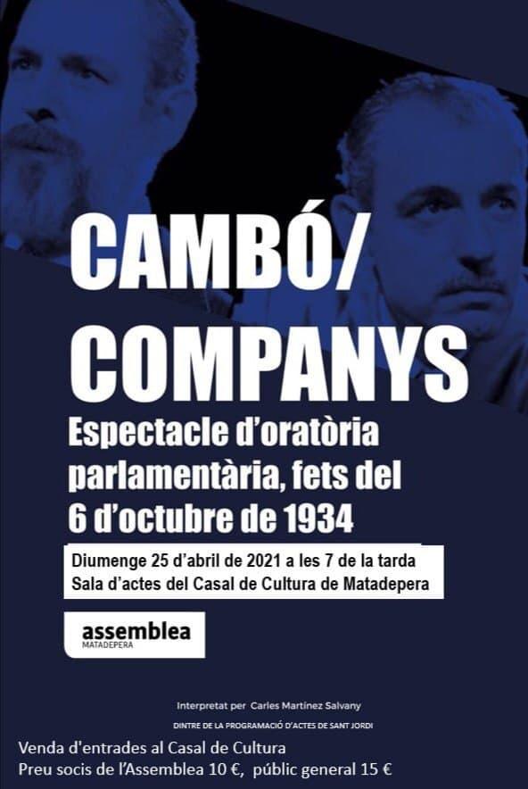 """Obra de teatre """"Cambó/Companys, espectacle d'oratòria parlamentària"""""""