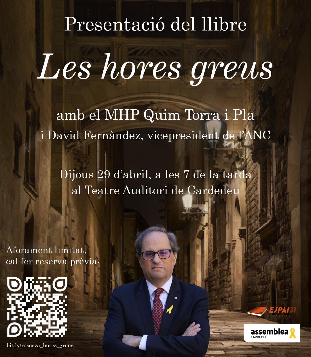 Presentació del llibre Les hores greus del MHP Quim Torra