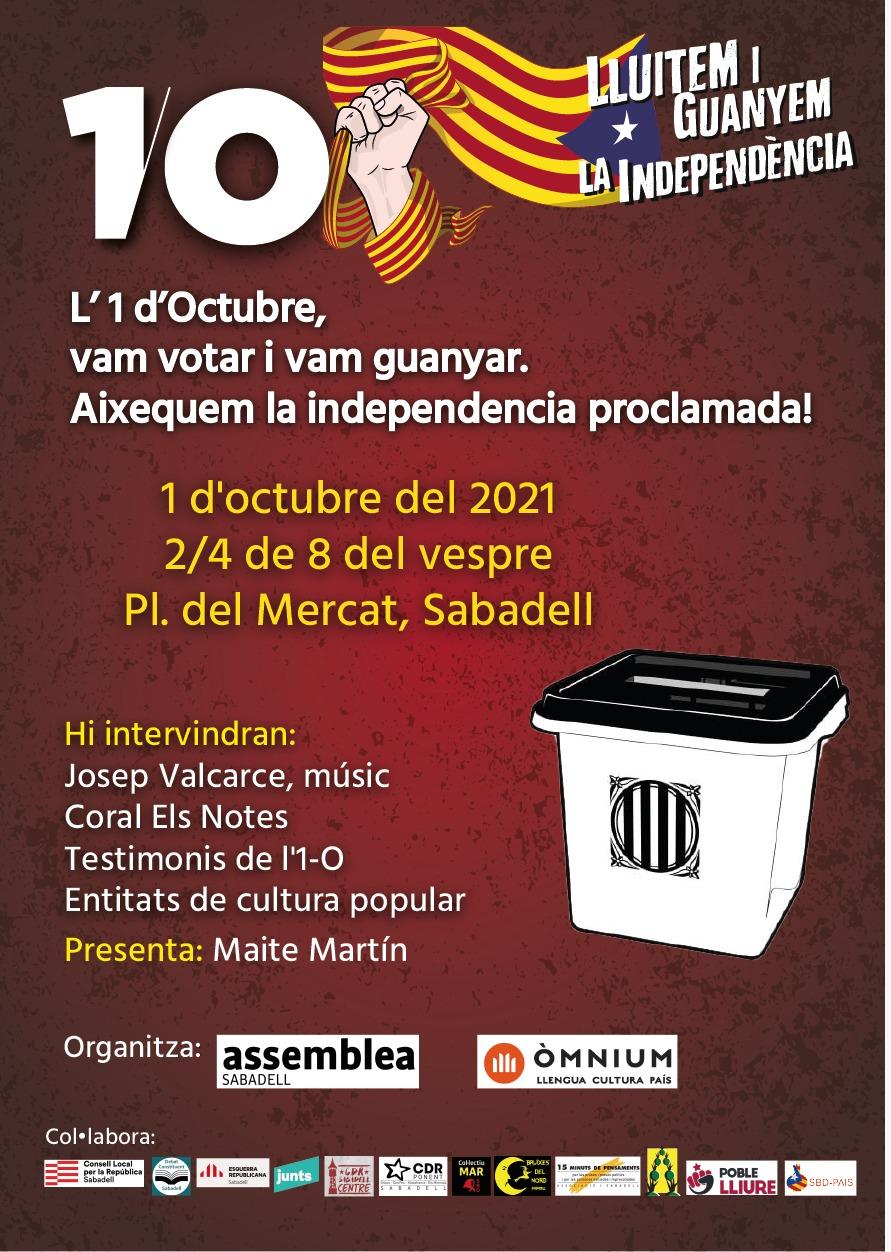 L'1 d'Octubre, vam votar i vam guanyar. Aixequem la independència proclamada!