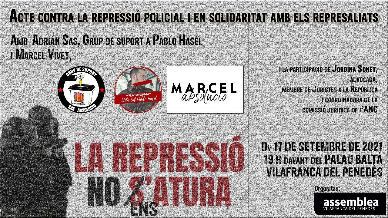 Acte contra la repressió policial i en solidaritat amb els represaliats