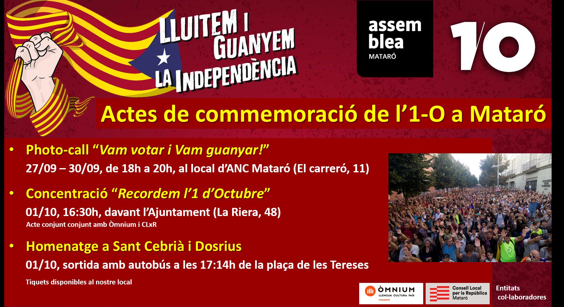 Actes de commemoració de l'1-O a Mataró